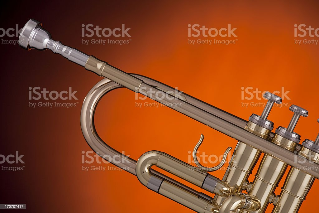 Trumpet Isolated on Gold Spotlight royalty-free stock photo