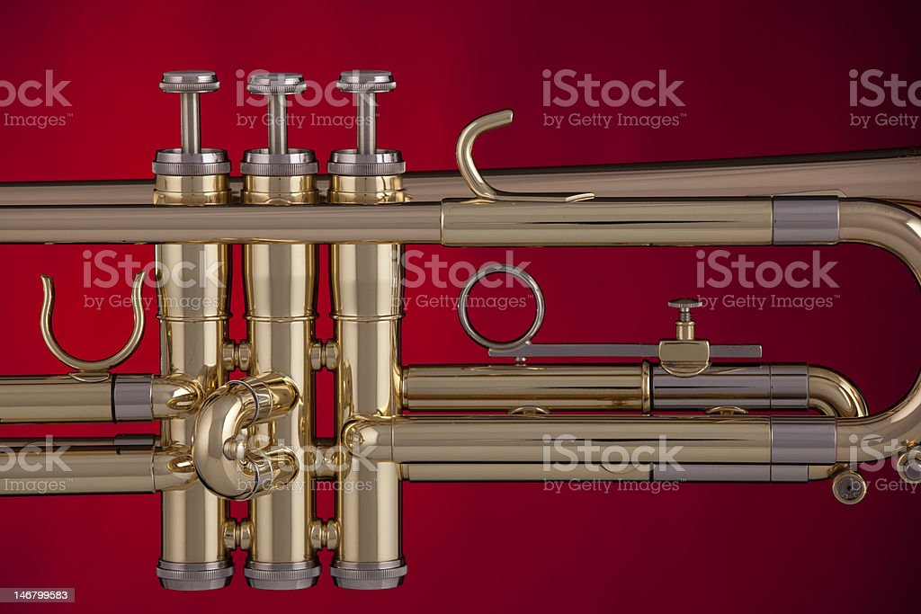 Trumpet Isolated On Red Background royalty-free stock photo