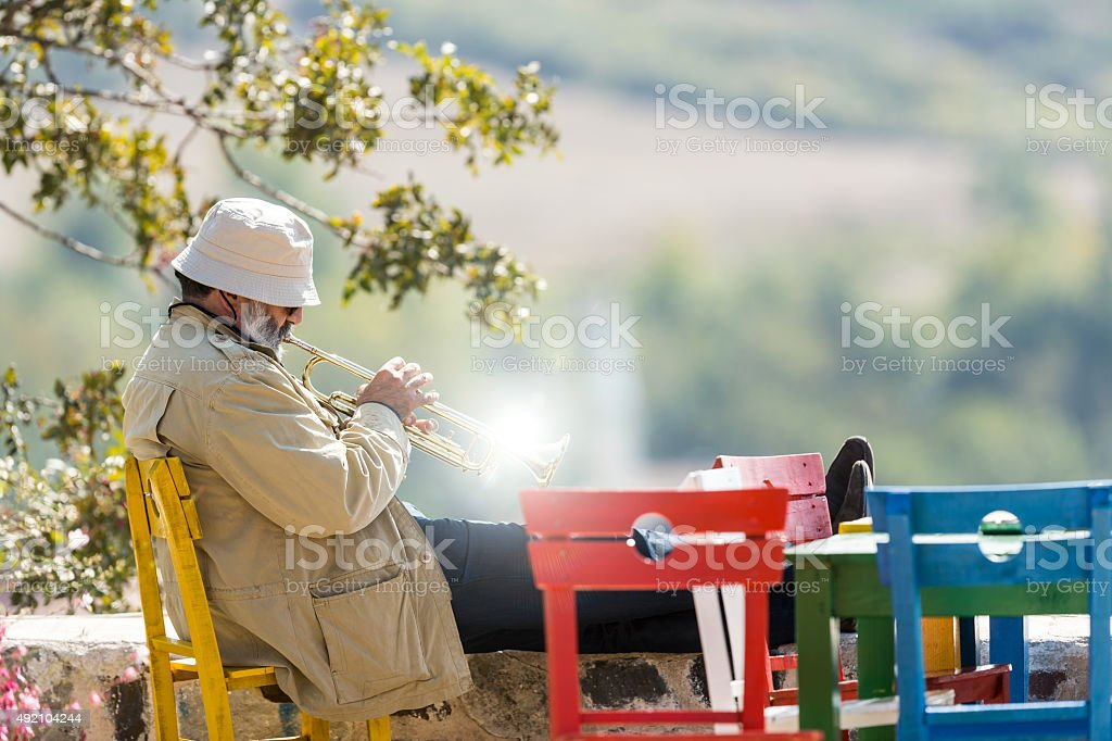 Trumpet Man stock photo