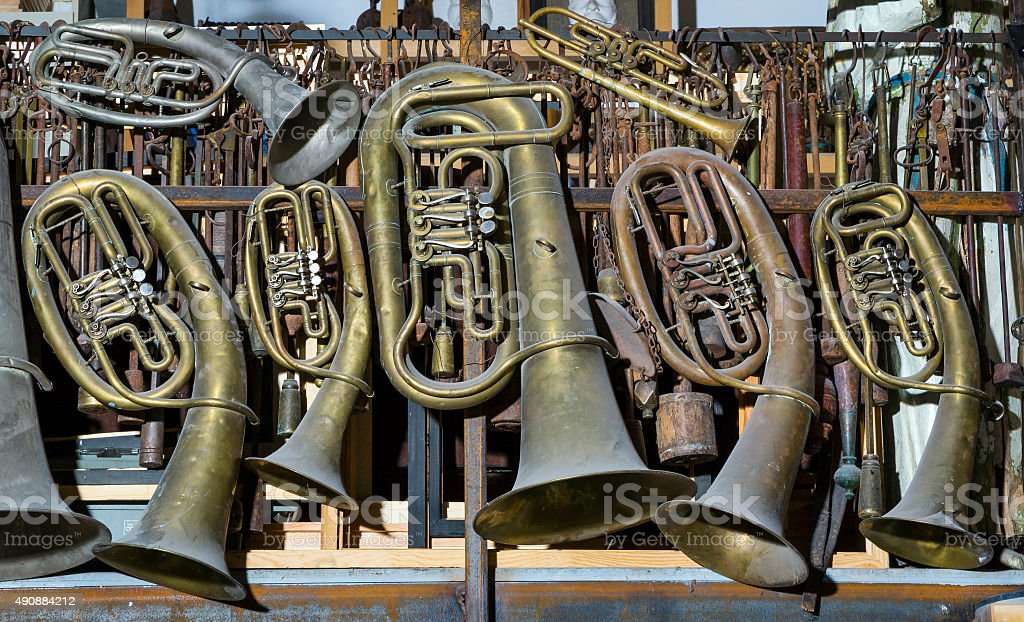 trumpet, musical instruments stock photo