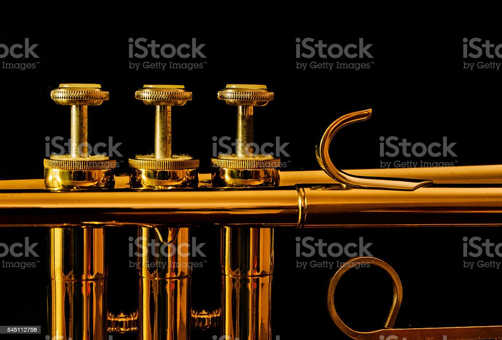 Trumpet on Black stock photo