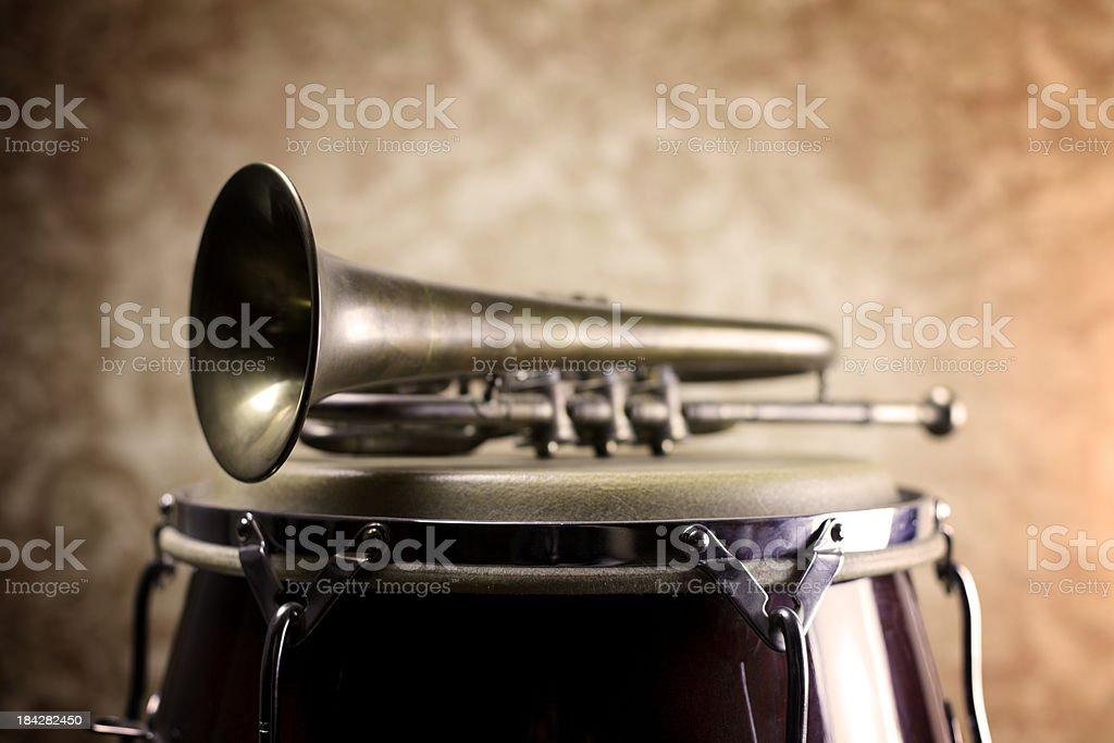 Trumpet on Conga Drum royalty-free stock photo