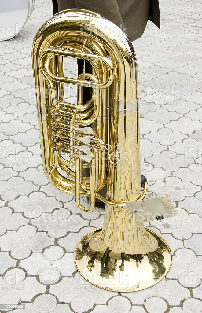 trumpet on pavement royalty-free stock photo