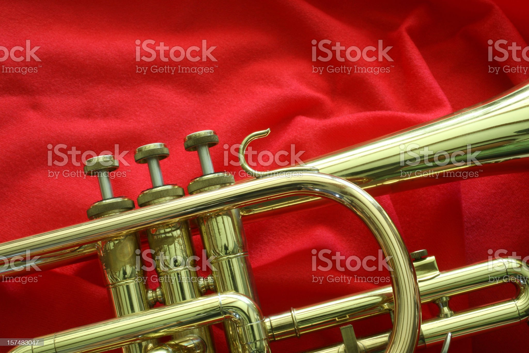 Trumpet on Red Cloth royalty-free stock photo