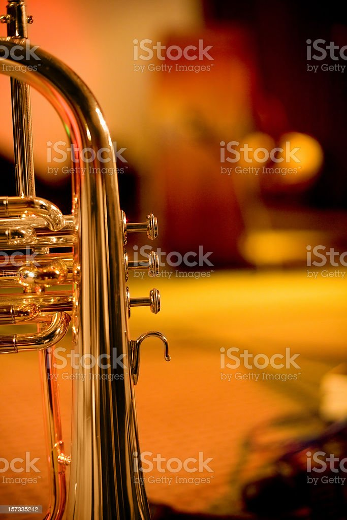 Trumpet on stage royalty-free stock photo