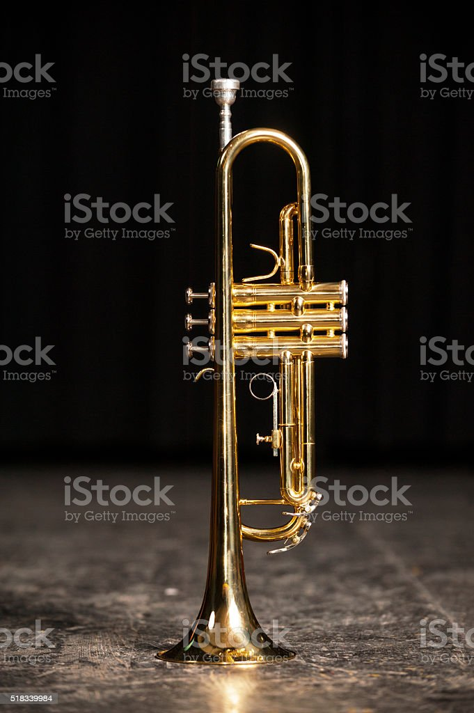 Trumpet On Stage stock photo