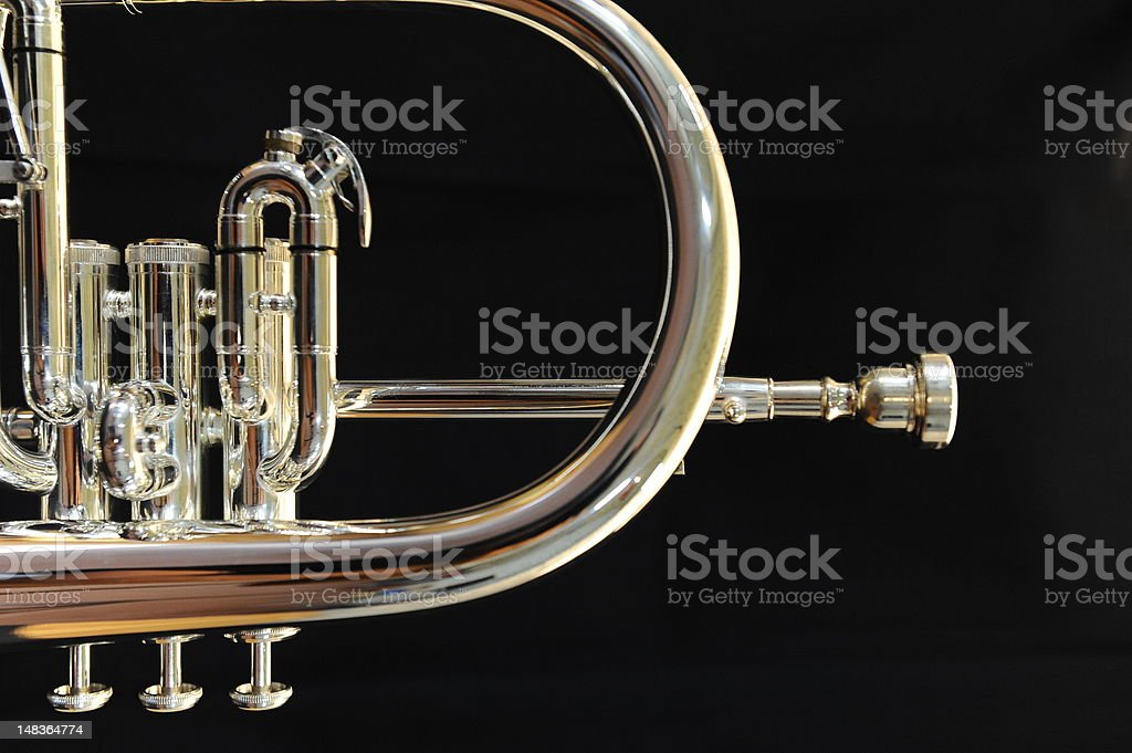 trumpet orchestral time stock photo