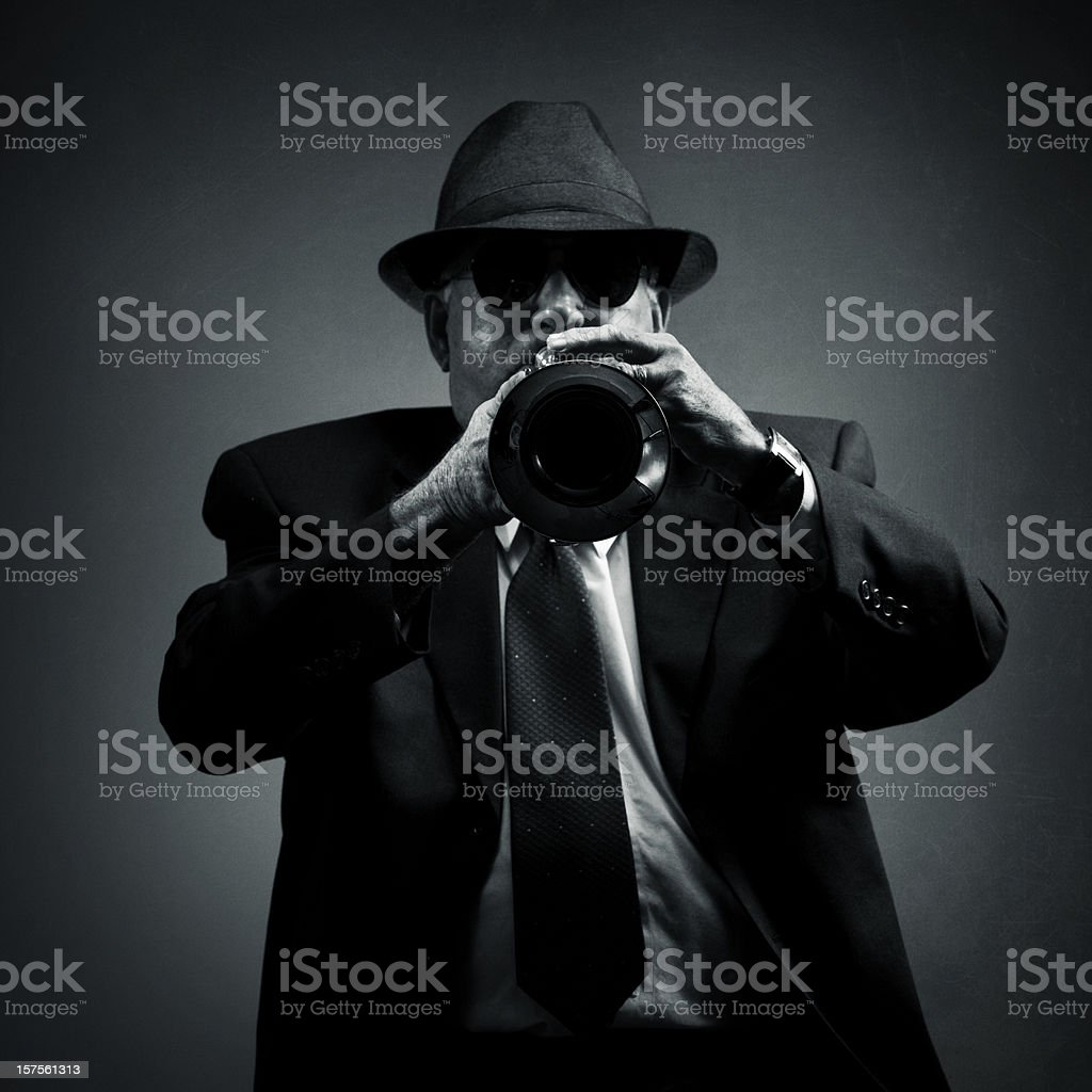 trumpet player performing a solo stock photo