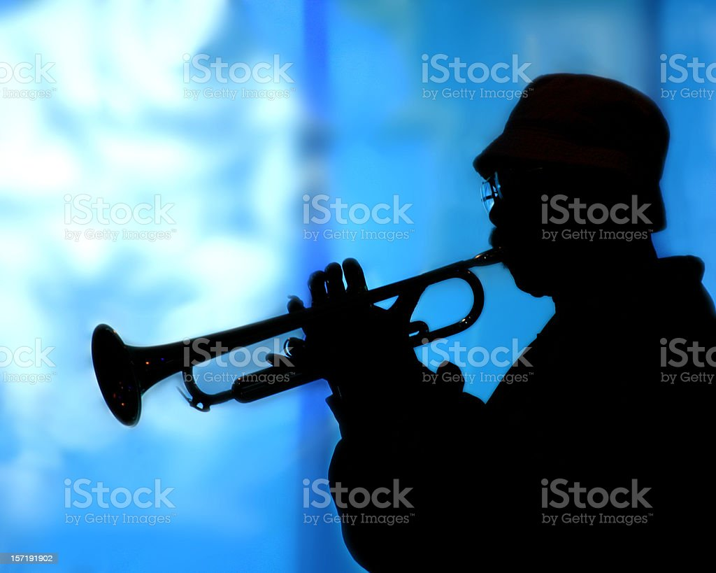 Trumpet Player Silhouette royalty-free stock photo
