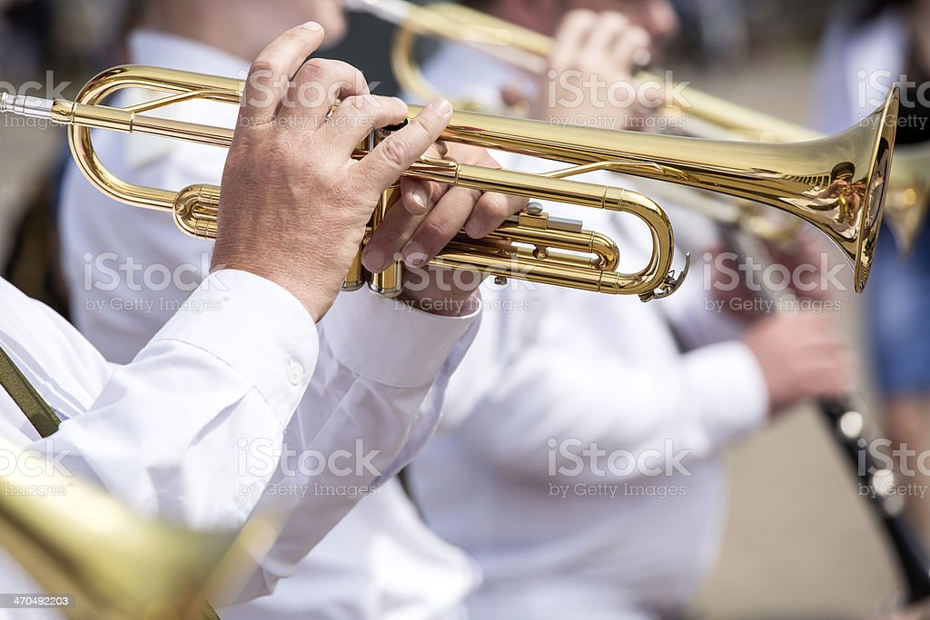 Trumpet players stock photo