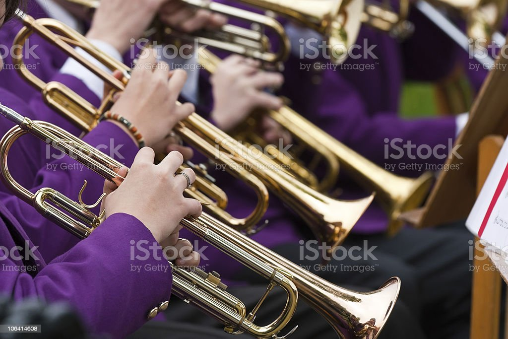 Trumpet section in band concert stock photo