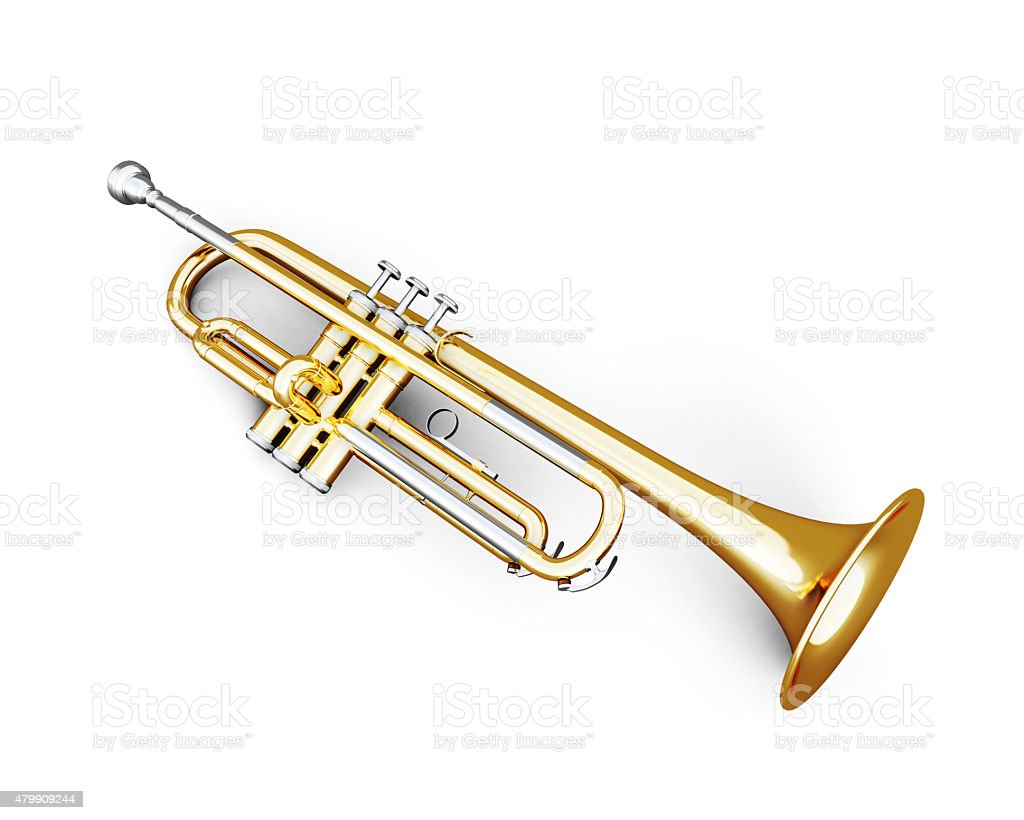 Trumpet under the white background stock photo