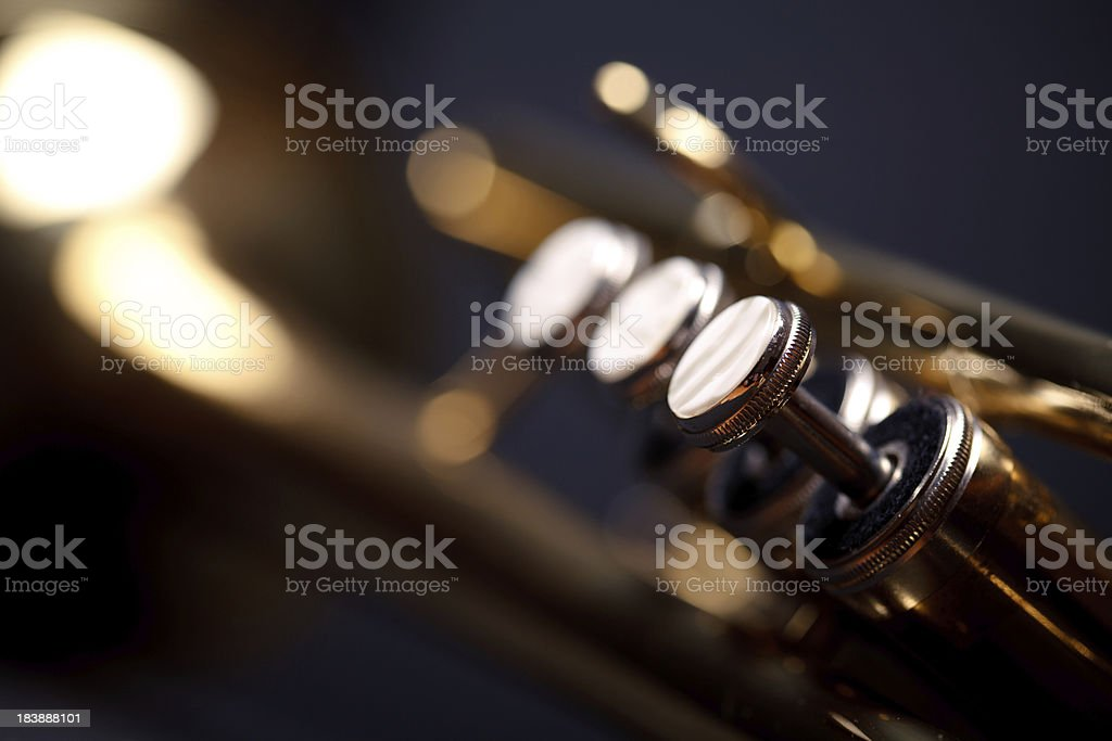 Trumpet valves stock photo