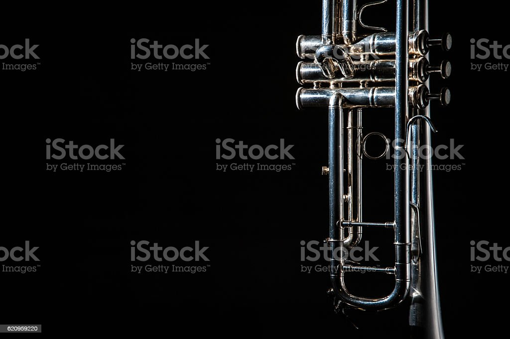 trumpet, wind instrument stock photo