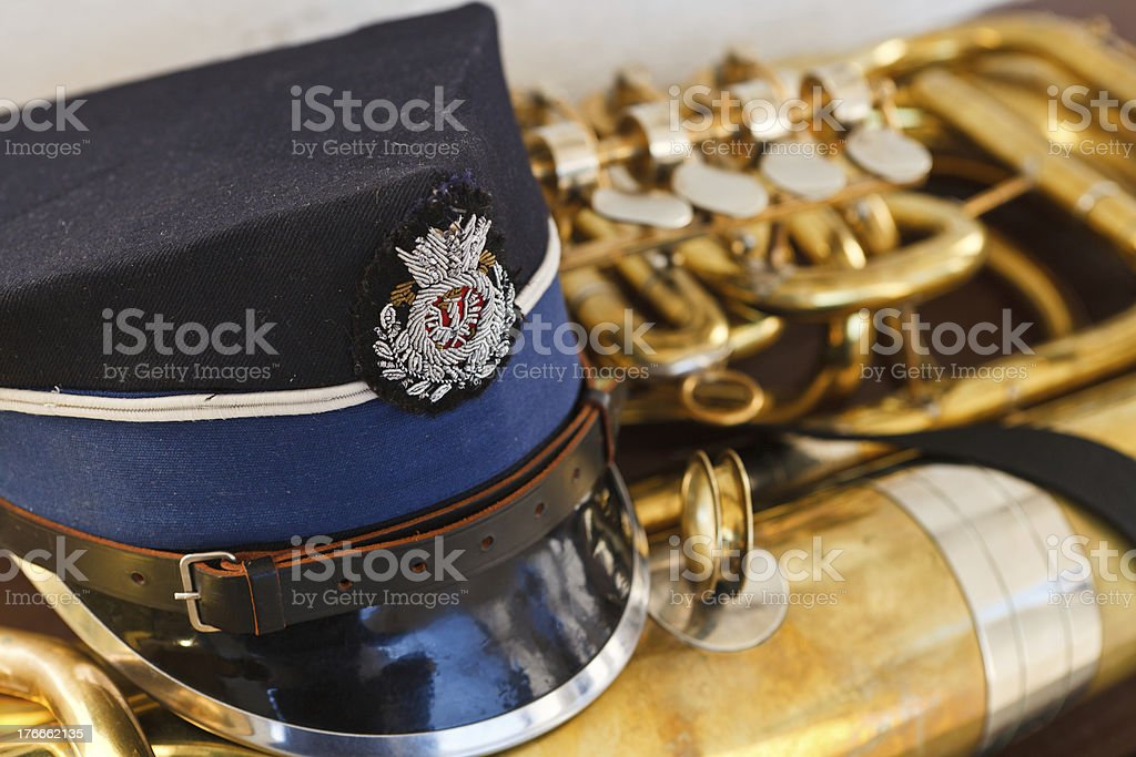 Trumpet with musician peaked hat royalty-free stock photo