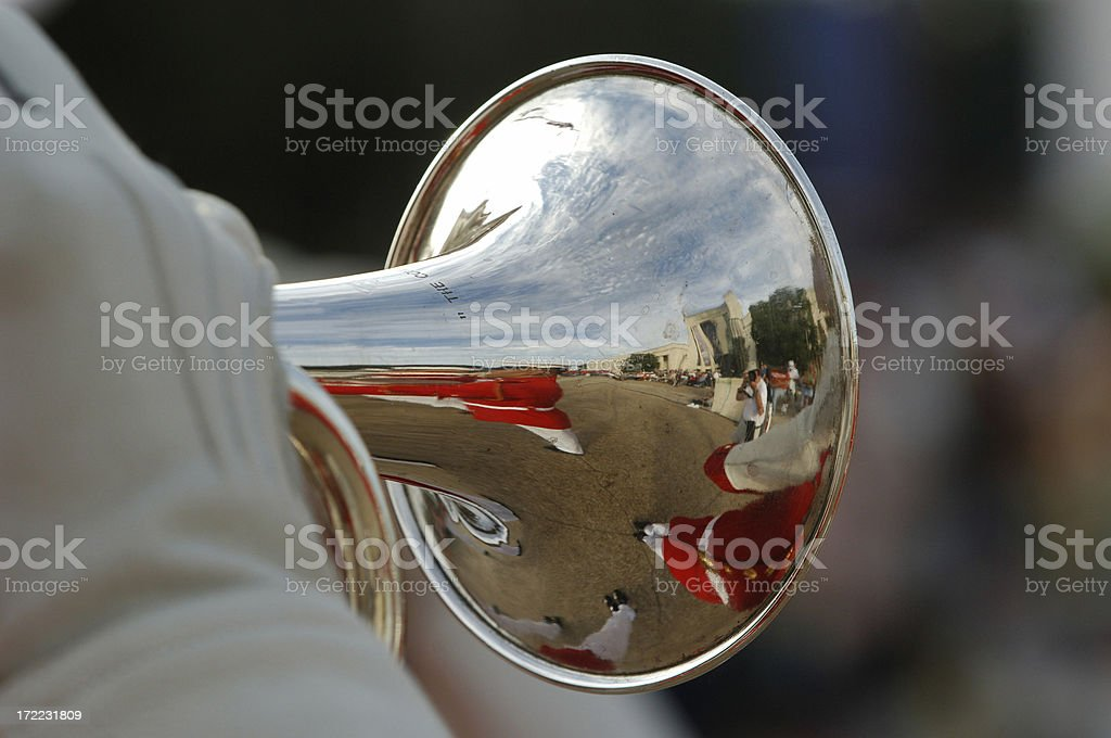 Trumpet with shallow depth of field stock photo