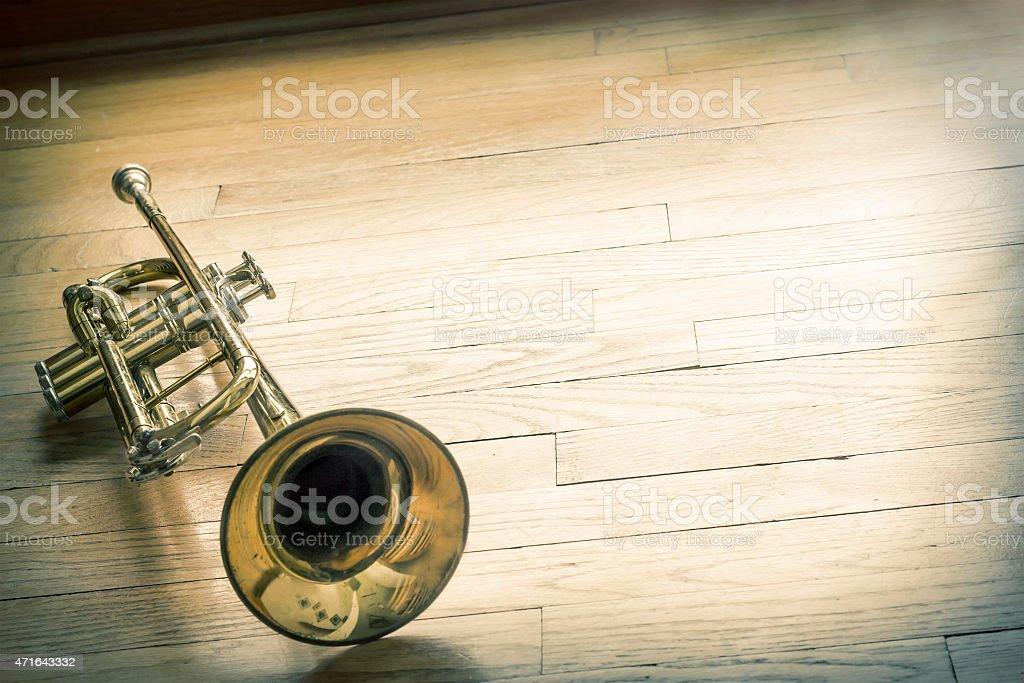 Trumpet Wooden Floor stock photo