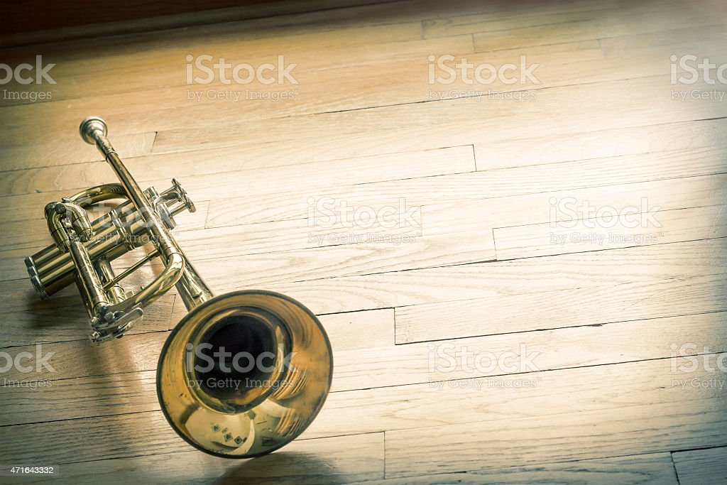 Trumpet Wooden Floor stock photo
