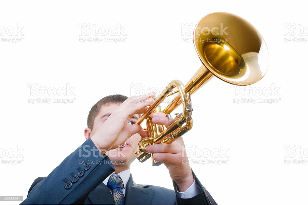 trumpeter (with clipping path) stock photo