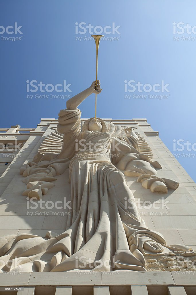 Trumpeting Angles (architecture detail) stock photo