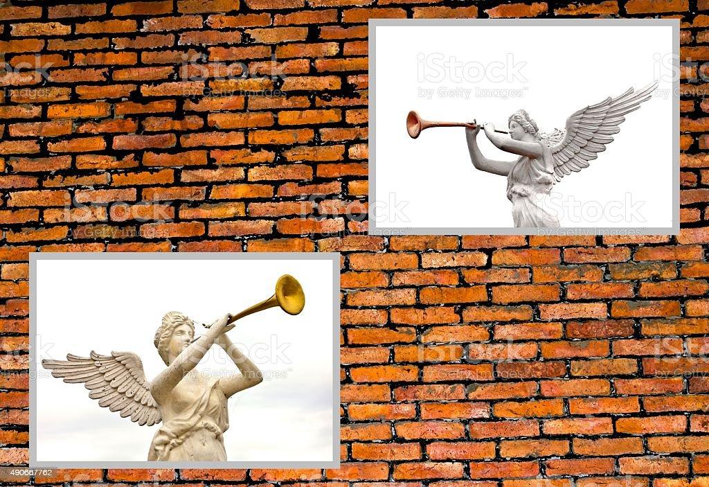 Trumpeting golden music angel statue photo on brick wall. stock photo