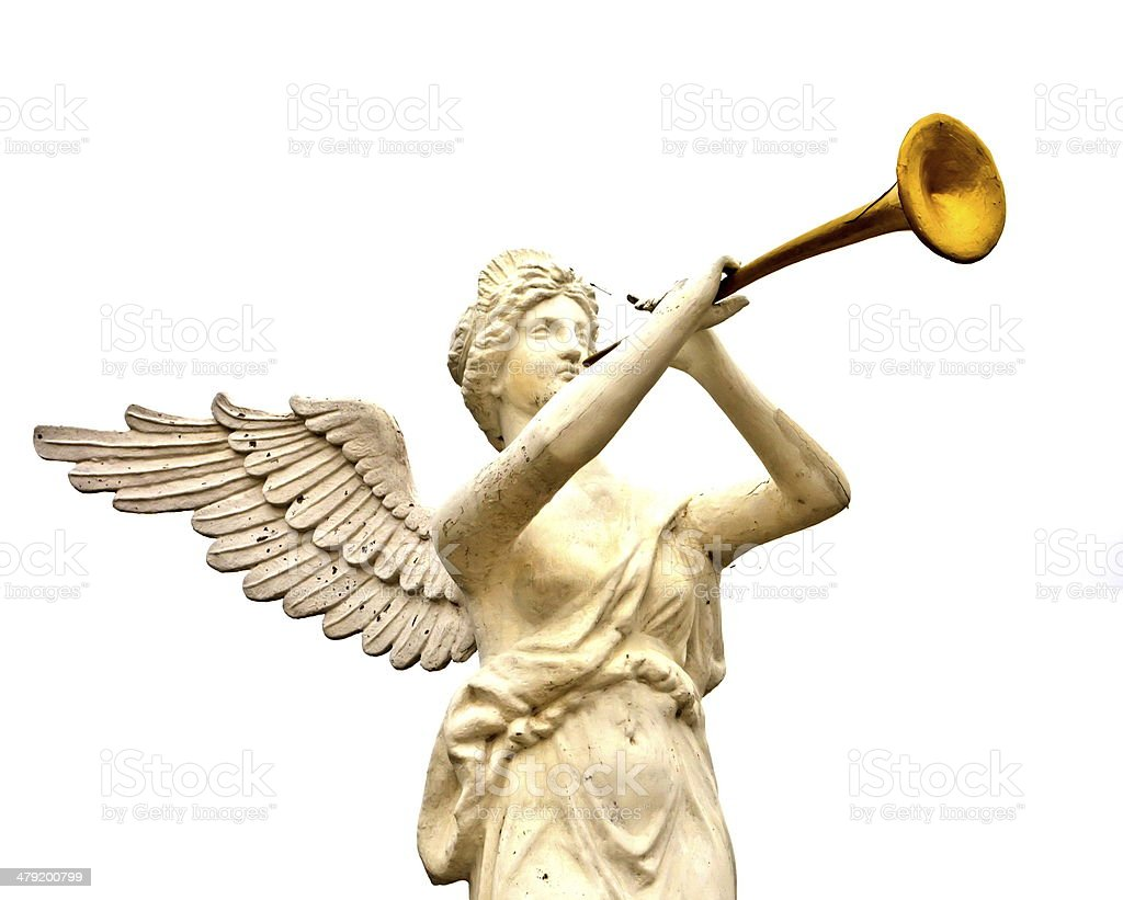 trumpeting golden music angel statue stock photo
