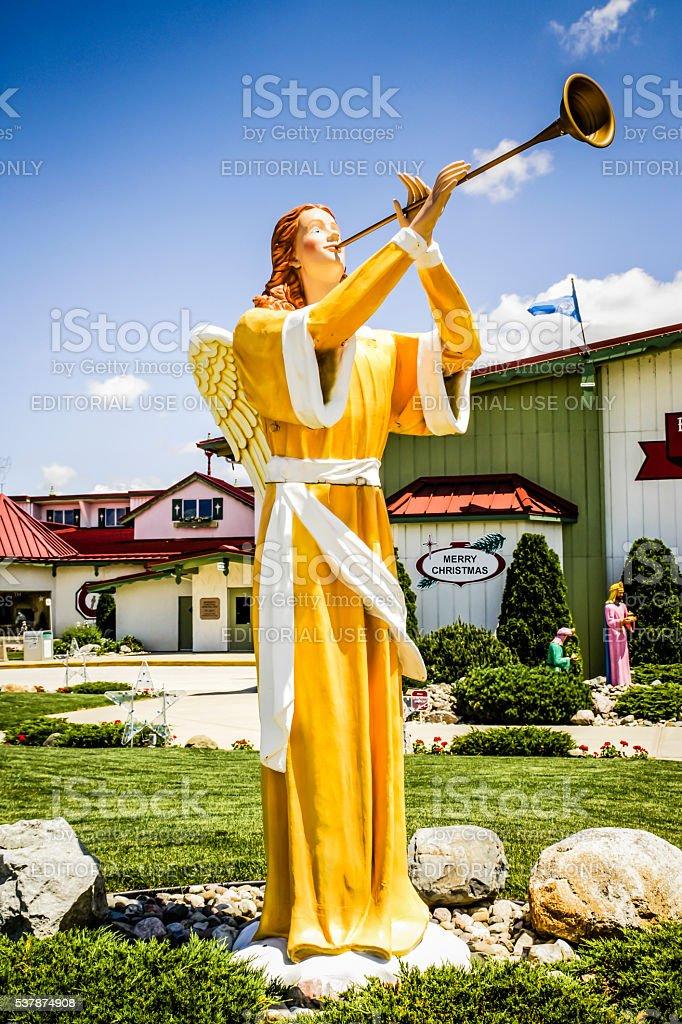 Trumpeting herald angel statue at Bronner's Christmas wonderland Frankenmuth MI stock photo