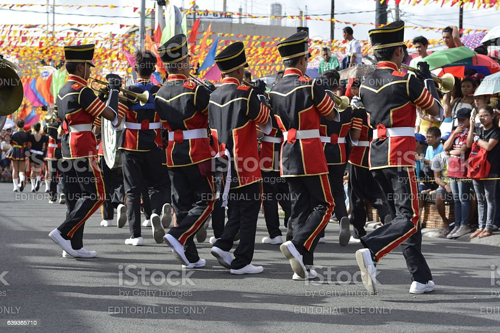 Trumpheteers synchronized play on marching recess stock photo