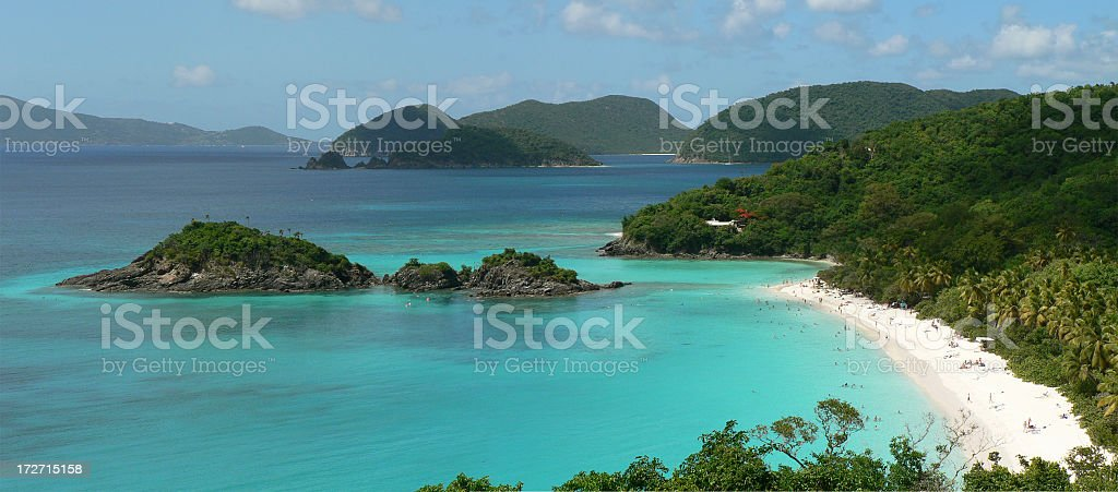 Trunk Bay panorama royalty-free stock photo