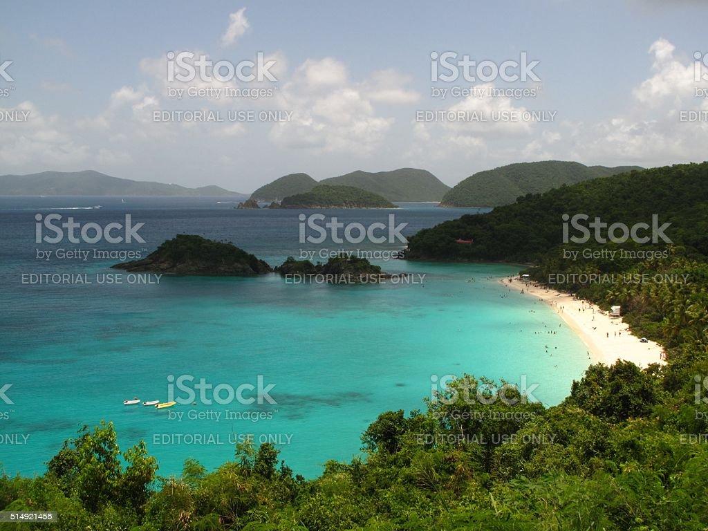 Trunk Bay St. John Virgin Islands Caribbean beach hilltop view stock photo