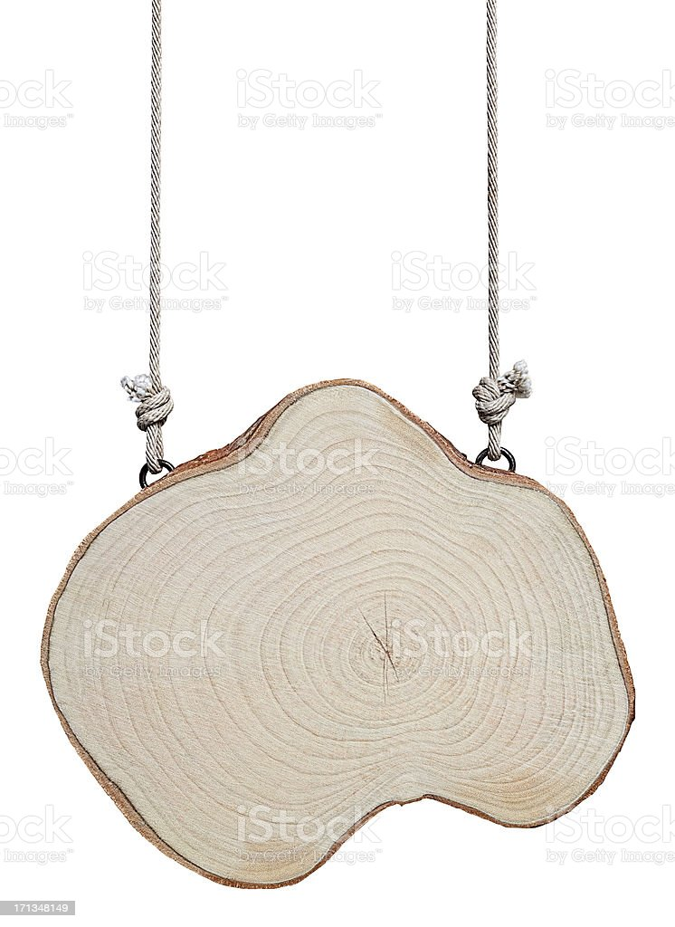 Trunk cross section wood signboard. royalty-free stock photo