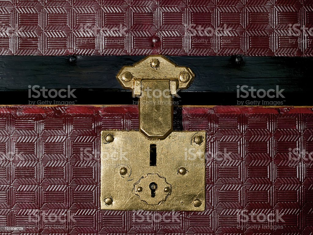 Trunk latch Gold Leafed with key hole Purple Trunk stock photo