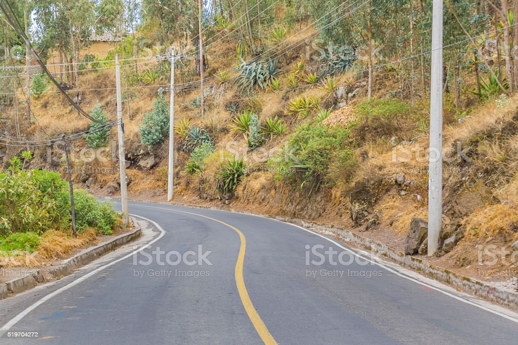 Troncal de la Sierrra Avenue Otavalo Outsides Village in Ecuador stock photo