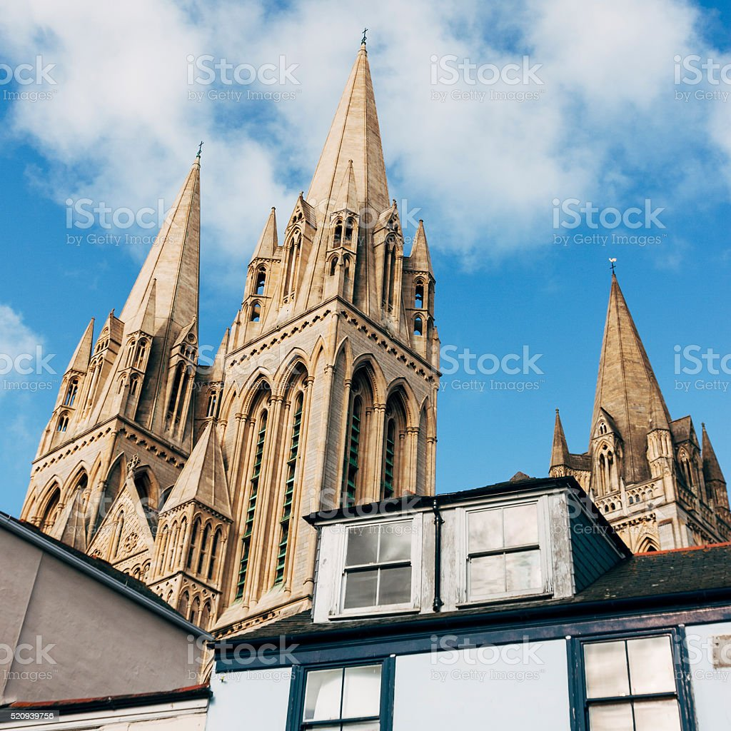 Truro cathedral spires and roof tops in Cornwall, England stock photo