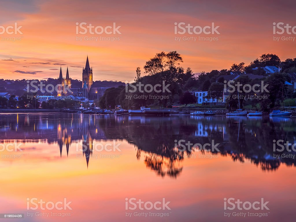 Truro Cornwall England Sunset stock photo