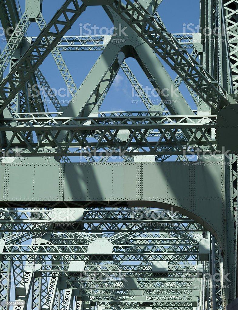 Truss bridge, Jacques Cartier Bridge, Montreal, Quebec, Canada stock photo