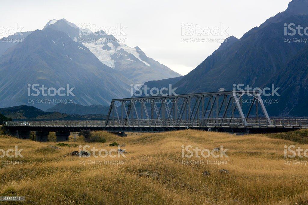 Truss bridge on Tasman Valley Road leading to Mount Cook stock photo