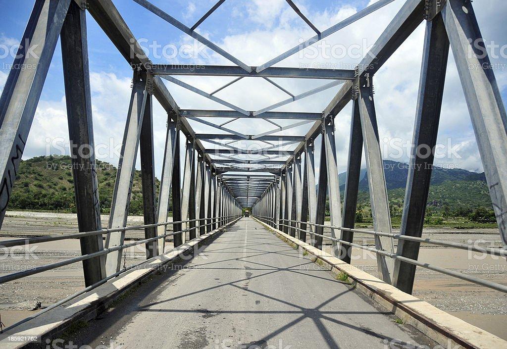 Truss bridge, Warren-truss, metal structure stock photo