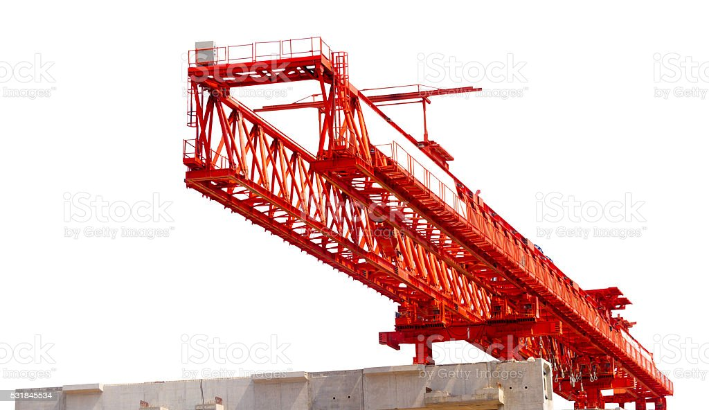 Truss crane isolated on white background stock photo