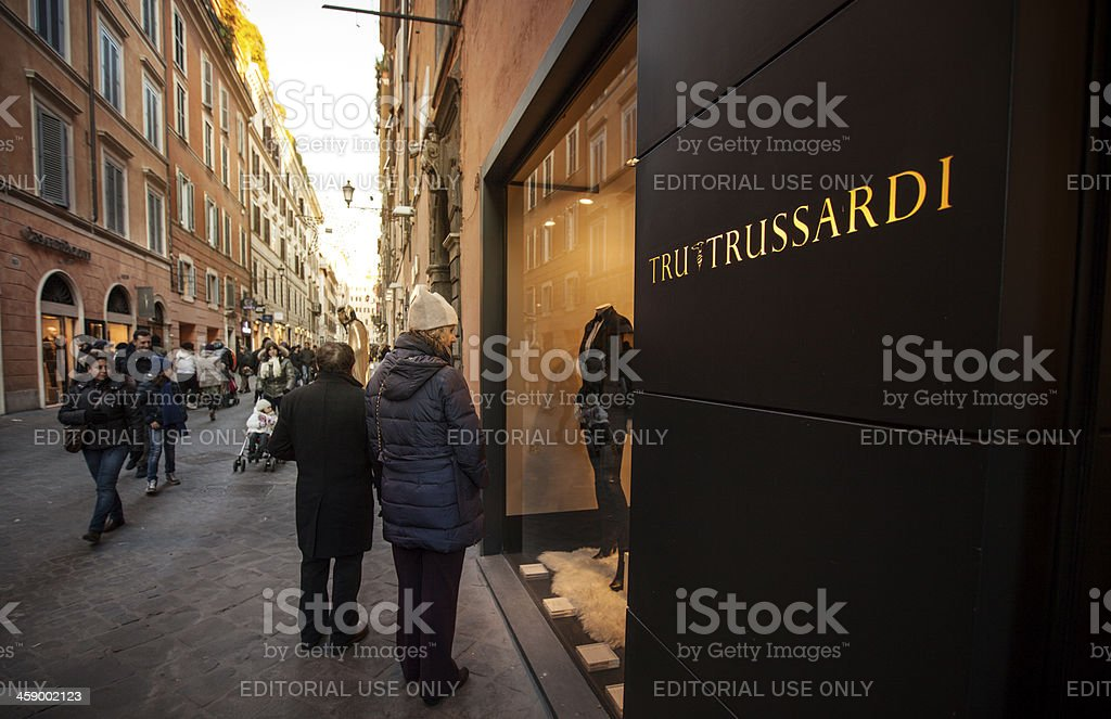 Trussardi store in Via Frattina, Rome royalty-free stock photo