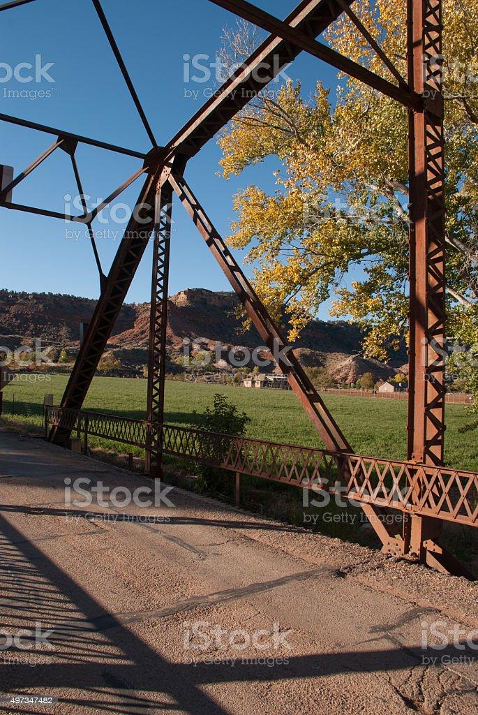 Trusses and fields seen from Historic Rockville Bridge Utah stock photo