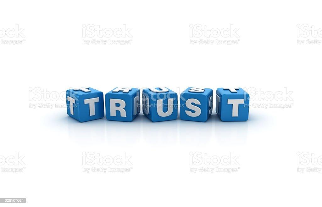 Trust Buzzword Cubes - 3D Rendering stock photo