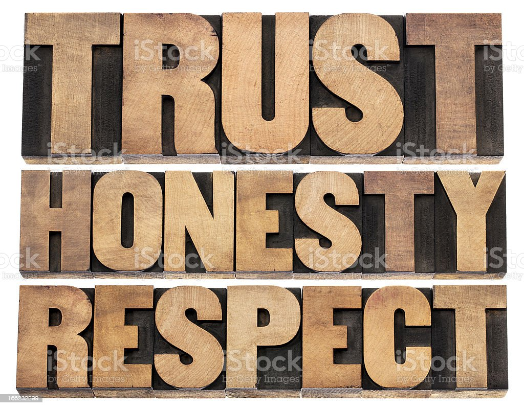 trust, honesty, respect royalty-free stock photo