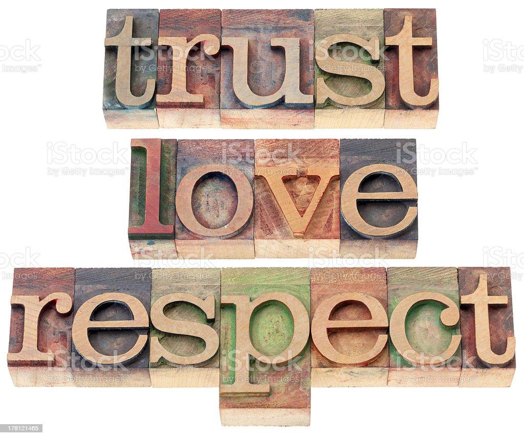 trust, love, respect in wood type stock photo
