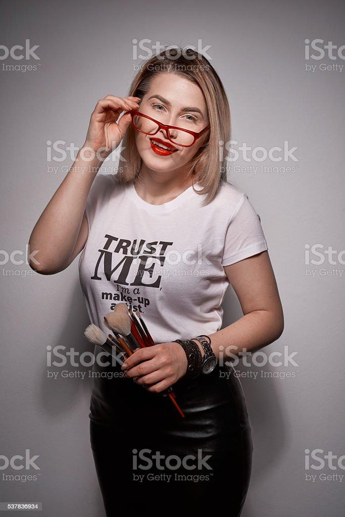 trust me, i'm a makeup artist stock photo
