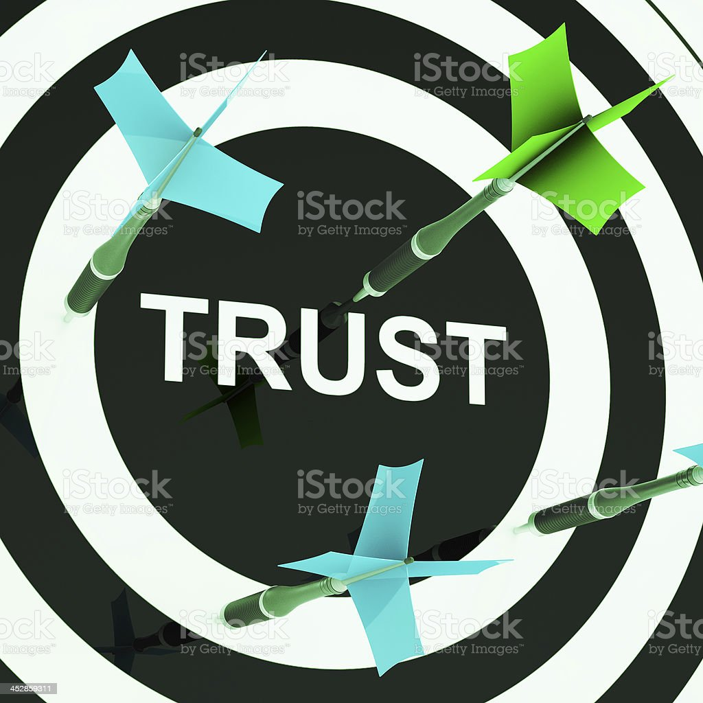 Trust On Dartboard Showing Mistrust stock photo