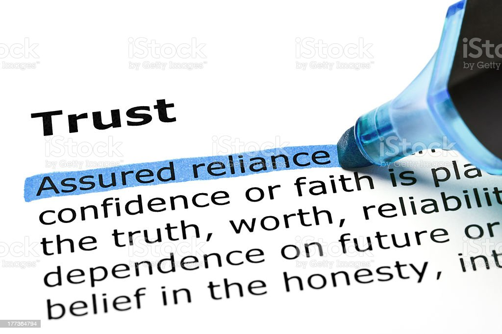 Trust with blue marker stock photo