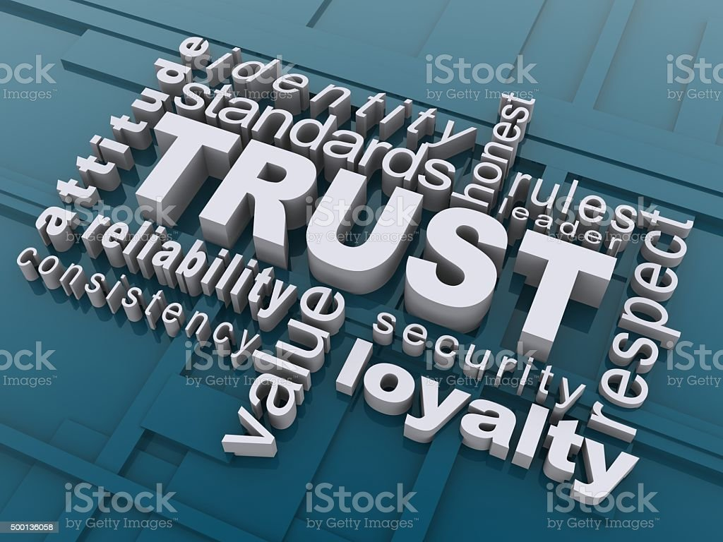 Trust word cloud stock photo