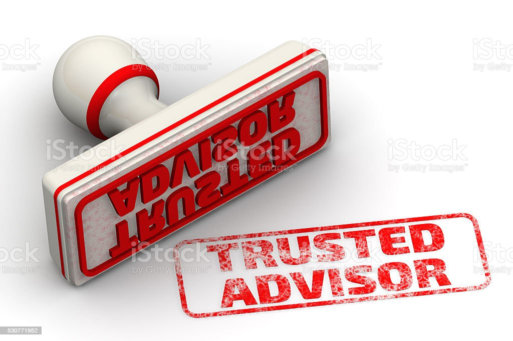 Trusted advisor. Seal and imprint stock photo