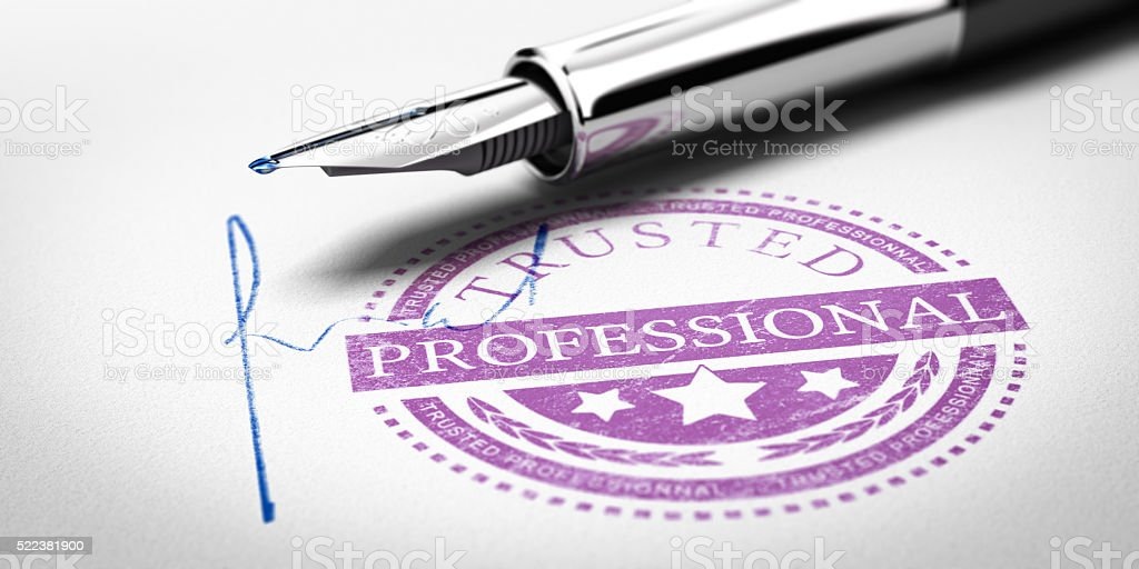Trusted Professionnal Stamp stock photo